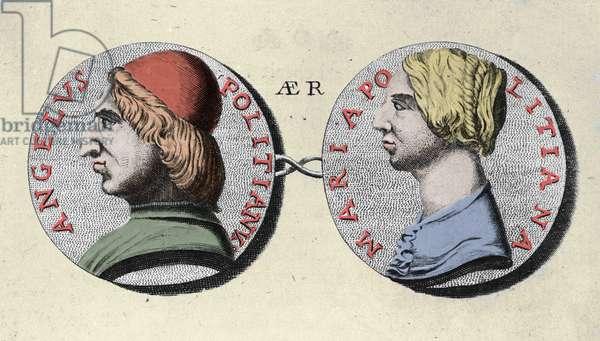 Portrait of Angelo Poliziano (Police Angel) Italian humanist 1454-1494 with his sister Maria Poliziana.