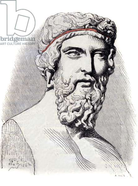 Portrait of the Greek philosopher Plato (428-348 BC) from a bust of the Louvre Museum