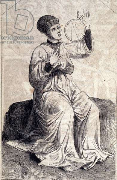 """Representation of an astrologer using an astrolabe in the 15th century. Engraving from """""""" De machinis Bellicis"""""""" (Treat seat machines)."""