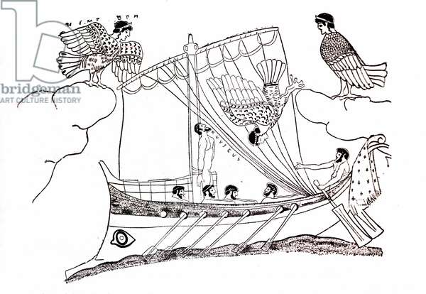 Ulysses and the mermaids trying to attract the ship of the sailors. Ulysses attaches to the mast of his boat and closes the ears of his companions. Drawing.