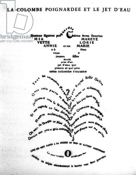 """Calligram by Guillaume Apollinaire (1880-1918): """"The Dove and the Jet of Water"""""""""""