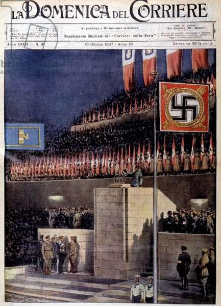 Speech by Benito Musssolini in Berlin, October 1937. Domenica del Corriere, October 10, 1937.
