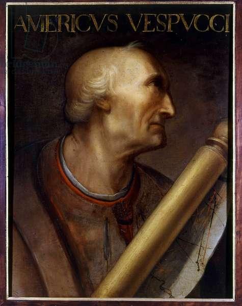 Portrait of Amerigo Vespucci (1454 - 1512). Painting by Cristofano dell'Altissimo. Uffizi Museum. Gioviana Collection.