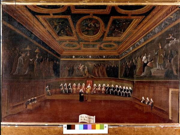Council of Ten at the Doges Palace in the 18th century - Sala Del Consilgio di Dieci 1725 - The Room of the Council of Ten, Doges 'Palace, Venice (18th) by Gabriele Bella (1730 - 1799) - The Doge and the Council of Ten. Correr Museum. Venice