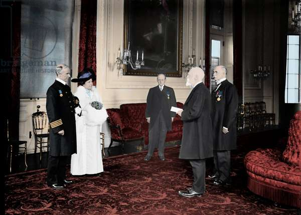 Portrait of Arthur Rostron (1869-1940), captain of the ship Carpathia, during the presentation of the gold medal to the British Embassy for his heroism during the rescue door during the sinking of the Titanic. 1913. Photography
