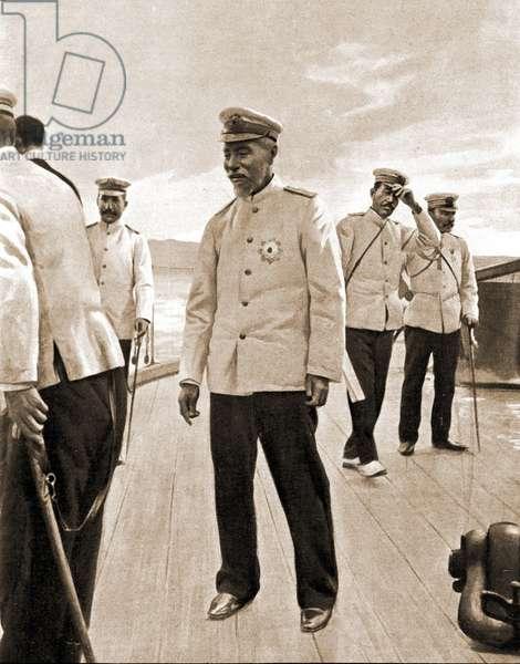 Japanese Admiral Togo on the battleship Mikasa, 1904.