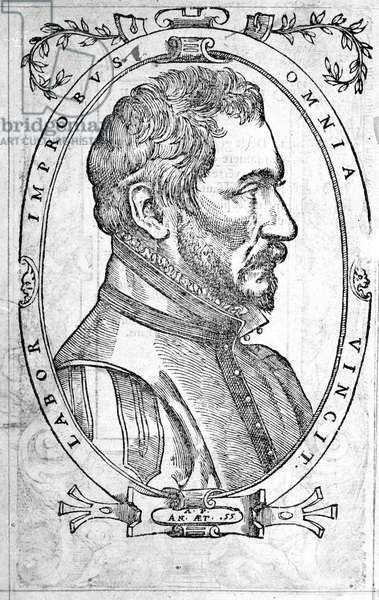 Portrait of Ambroise Pare, French physician and surgeon (1509-1590) Engraving of the 16th century