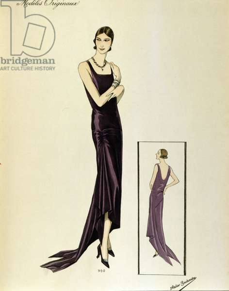 Fashion crazy years: elegant young woman with short hair dressed in an evening dress with decollete on the back. Drawing of 1930