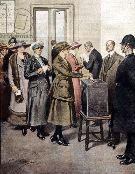 Women voted for the first time in England. 1919. Illustration of A. Beltrame. La Domenica del Corriere.