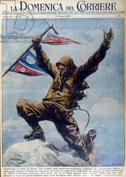 New Zealand's Hillary and Nepalese guide Tenzing reach the summit of Mount Everest, the highest mountain on earth (8848 m), with the help of oxygen breathing apparatus, cover of La Domenica del Corriere of 14/06/1953.