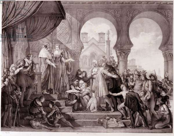 The return of Christopher Columbus to Spain before King Ferdinand II of Aragon and Isabella 1st of Castile (called the Catholic) after discovering America. Engraving of the 19th century.