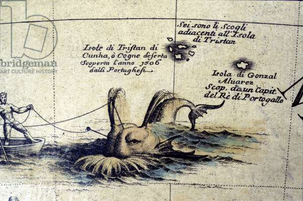 Whaling in the South Atlantic after a globe of Coronelli. 17th century