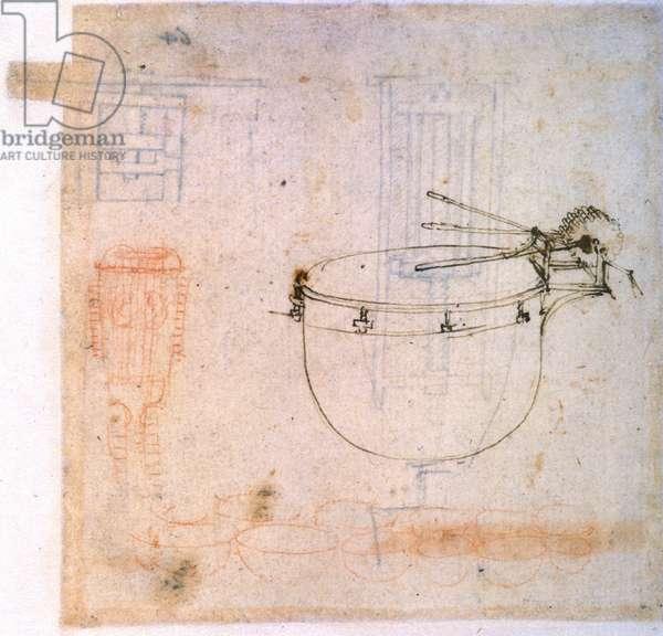 Drawing by Leonardo da Vinci (Leonardo da Vinci) representing a drum. Codex Atlantique.