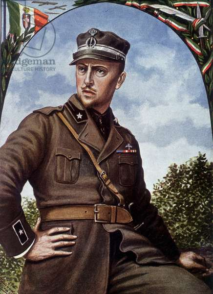Postcard depicting a portrait of Gabriele d'Annunzio in uniform, 1920 (colour litho)