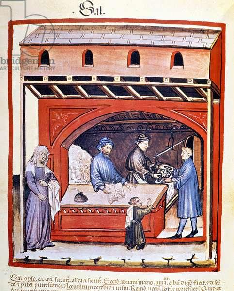 Sale of salt, extract of Tacuinum Sanitatis, 14th century. B.N, Vienna.