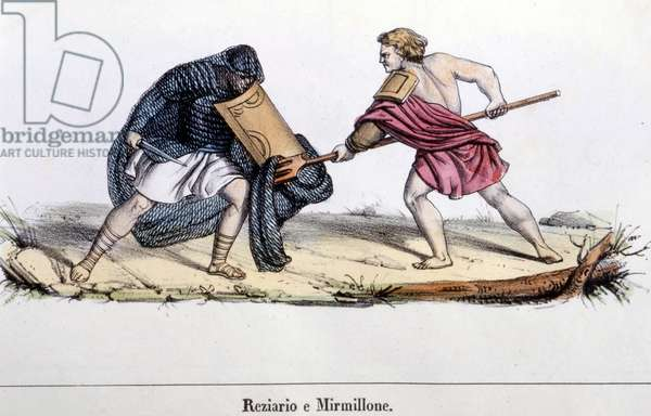 A gladiator fight, 19th century engraving.