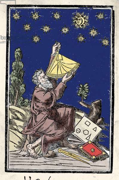 An astronomer doing calculations using a sextant during an eclipse. Engraving of the 16th century.