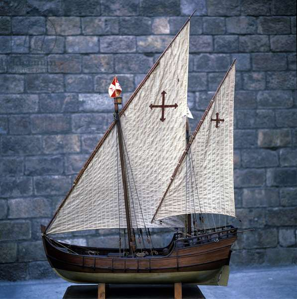 Miniature reproduction of the Nina, caravel of Christopher Columbus.