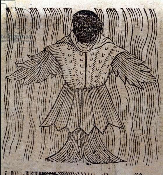 "Representation of the sea monk, imaginary fish and marine monster. Engraving from ""Prodigiorum ac ostentorum chronicon"" by Conrad Lycosthenes (Konrad Wolffhart, 1518-1561). Basilea 1557."