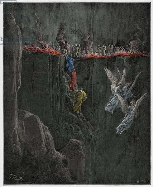 Purgatorio, Canto 25 : Virgil and Dante ascend to the seventh circle through flames, illustration from 'The Divine Comedy' by Dante Alighieri, 1885  (digitally coloured engraving)