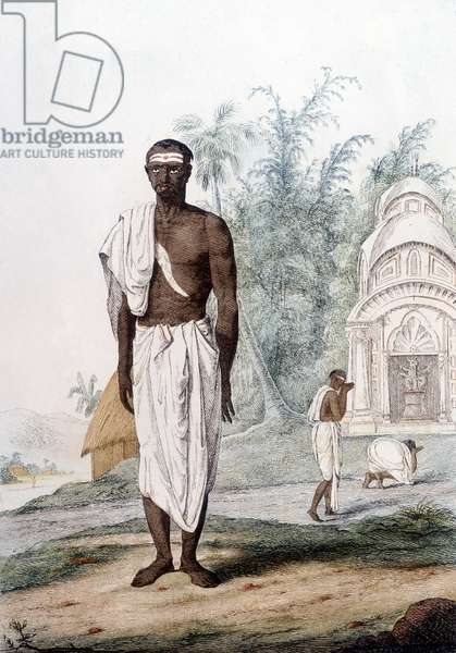 Culture, civilization and Indian society: portrait of a Brahman, priest of India.