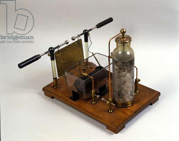 Physics: Hertz machine (Heinrich Hertz German physicist, 1857-1894) for high frequency currents. Museum of Science and Technology in Milan