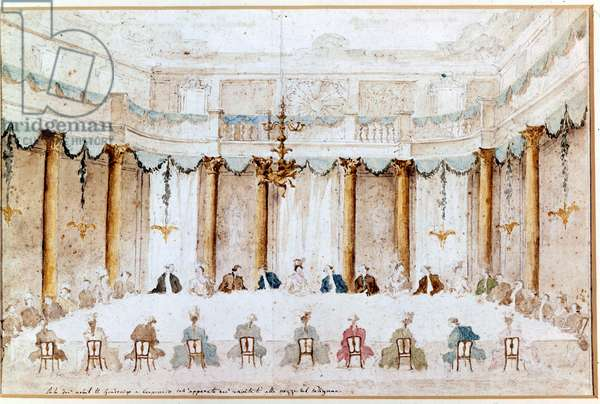 Banquet for the wedding of Polignac. Drawing by Francesco Guardi (1712 - 1793). Venice, Correr Museum.