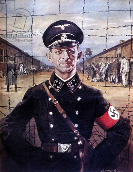 Portrait of Adolf Eichmann, SS officer and Nazi war criminal (1906 - 1962). drawing by Walter Molino