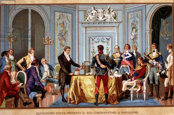 Alessandro (Alexandre) Volta presents his capacitor in Napoleon. Chromolithography of the 19th century. ¿