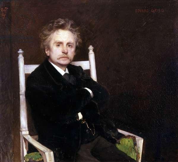 Portrait of Edvard Grieg, 1891 (oil on canvas)