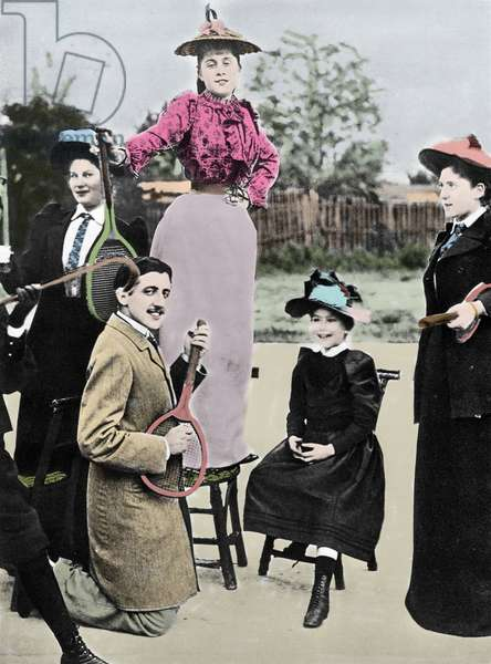 Marcel Proust French writer in the middle of a group of young women playing guitar on a tennis racket, at the tennis boulevard Bineau in Paris, 1892 (photo)