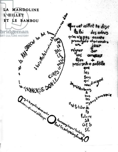 """Calligram by Guillaume Apollinaire (1880-1918): """"The mandolin, the carnation and the bamboo"""""""""""