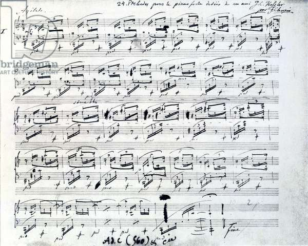 Sheet music for Prelude 1 for piano by Frederic Chopin (1810 - 1849), Polish composer.