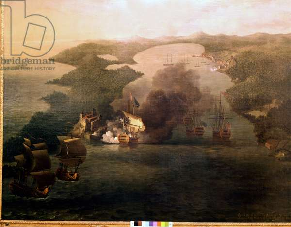 Capture of the city of Porto Bello by Admiral Edward Vernon, nicknamed Old Grog (1684-1757) on 21 November 1739. Painting of the National Maritime Greenwich, England