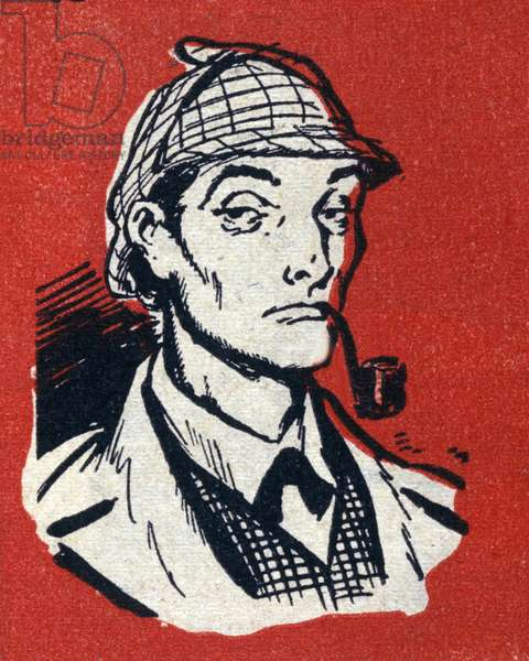 Portrait of Sherlock Holmes. Anonymous drawing around 1925