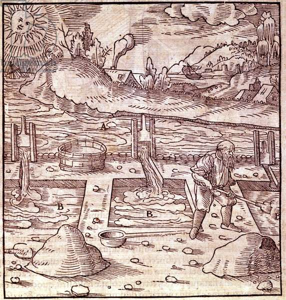 "Bitumen harvesting. Georg Bauer Agricola"" De Re metallica"""" book of the 16th century. Bibl. of the Science Museum, Milan."