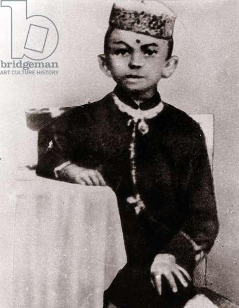 Portrait of political leader Mohandas Karamchand Gandhi (1869-1948) child - Photography around 1875