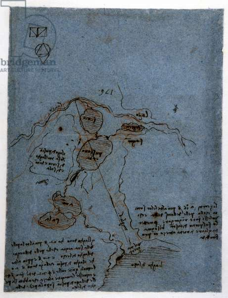 Study on the exploitation of water force in hydraulic machines (noria) by Leonard de Vinci (Leonardo da Vinci) (1452 - 1519). Drawing with pen and ink.
