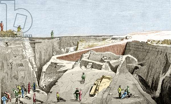 Troy excavations led by Heinrich Schliemann, sd. 19th century.