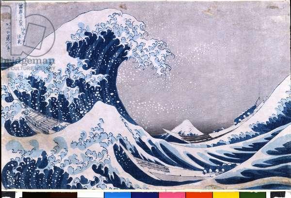 "36 views of Mount Fuji, 1825. The great wave near the coast of Kanagawa.1825 (La grande onda presso la  di Kanagawa da: """" 36 vedute del Fuji"""", 1825.) The Great Wave of Kanagawa, from the series '36 Views of Mt.Fuji' ('Fugaku sanjuokkei') (colour woodblock print) Hokusai, Katsushika (1760-1849)."