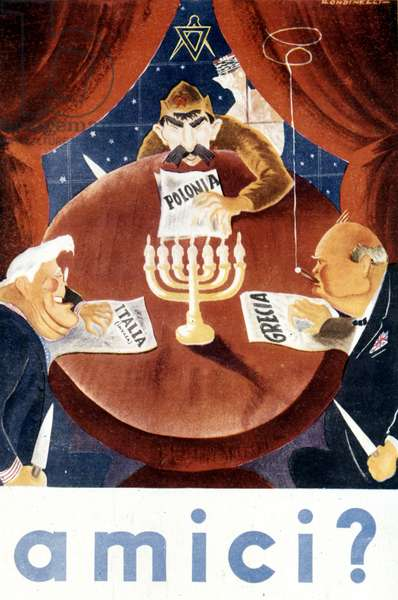 Italian propaganda manifesto of World War II against the Allies:  Poster by Rondinelli.