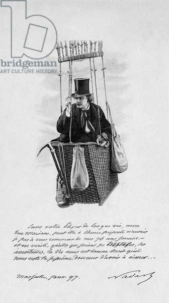Representation of Felix Tournachon dit Nadar (1820-1910) on the nacelle of a balloon. 1897