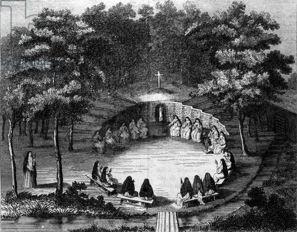Nuns of the abbey of Port Royal des Champs (Port-Royal-des-Champs) in a lecture in solitude. Engraving after a parchment of the 18th century French school.