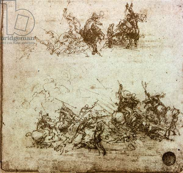 Battle of Horsemen Study for the Battle of Anghiari (opposing the Milanese against the Florentines on 29/06/1440) Drawing in the pen of Leonardo da Vinci (Leonard de Vinci) (1452-1519) Sun. 14,7 x 15,5 cm Venice Gallerie dell'Accademia