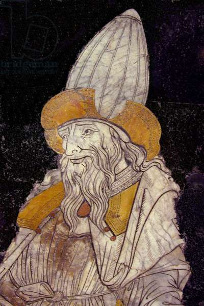 Portrait of Hermes Trimegiste (Trismegistus), astrologer. Detail. Mosaic of the square of the Cathedrale of Siena, Italy.