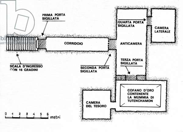 The curse of the Pharaoh: following the discovery and opening of the tomb of Pharaoh Tout Ankh Amon (All-Ankh-Amon) in 1922 many unexplained deaths occurred among those present at the discovery. It would be the revenge of the pharaoh. The plan of the grave. Illustration of the 1950s.