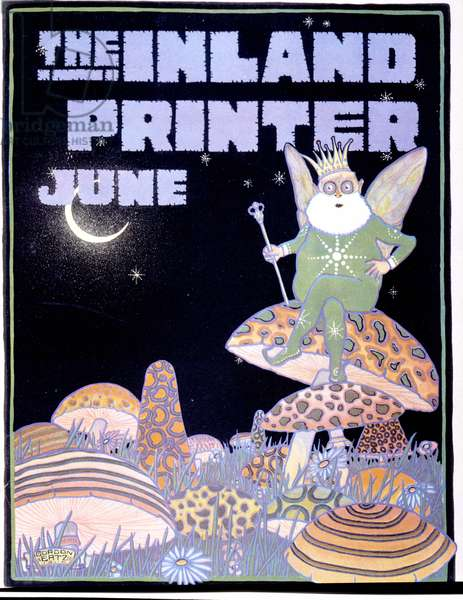 """A wing gnome carrying a sceptre and a crown sitting on a fungus. Cover of Gordon Ertz for """""""" The Inland Printer""""""""."""