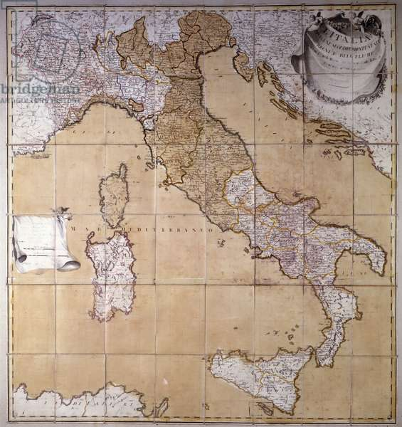 Map of Italy in 1793. Milanese .