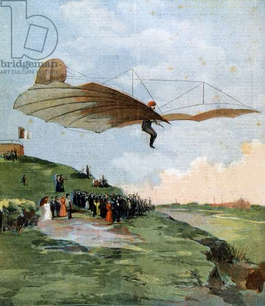First gliding test of Otto Lilienthal (1848-1896), a German engineer, on his aircraft in 1894
