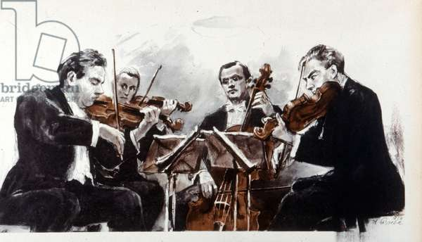 Chamber music: Strub quartet. From the left: Prof. Max Strub (1st violin), Jost Raba (2nd violin), Prof. Ludwig Hoelscher (cello), Walter H. Trampler (viola). Drawing by Heinrich Boese. 1938